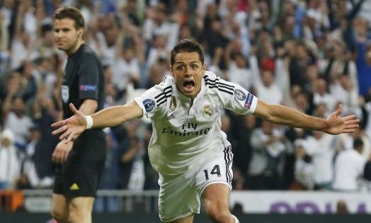 Chicharito comemora o gol da vitória do Real Madrid sobre o Atlético Foto: Juan Medina / REUTERS
