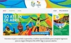 Página para pedir ingressos das Olimpíadas Rio 2016 Foto: Reprodução
