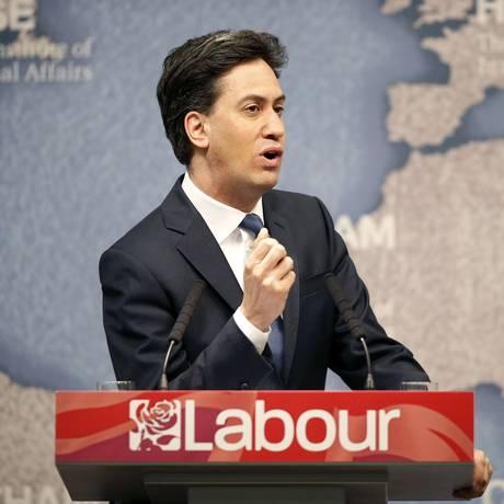 Líder trabalhista Ed Miliband discursa na Chatham House, em Londres, em Foto: ADRIAN DENNIS / AFP