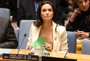 Angelina Jolie participa de uma reunião do Conselho de Segurança das Nações Unidas sobre a situação no Oriente Médio e na Síria Foto: Jemal Countess / AFP
