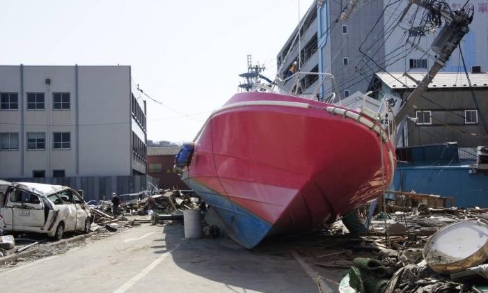 Destruição na cidade de Ishinomaki, no Nordeste do Japão. A cidade foi arrasada pelo terremoto, em 2011. Foto de arquivo Foto: Claudia Sarmento / Agência O Globo
