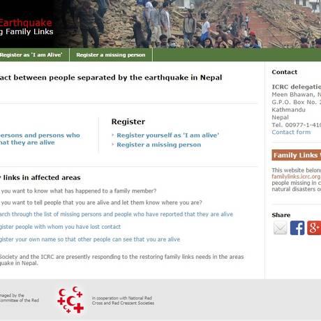 Site da Cruz Vermelha dedicado à busca por sobreviventes do terremoto no Nepal Foto: Reprodução/Internet