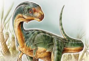 O Chilesaurus diegosuarezi foi encontrado por acaso por uma criança na Patagônia chilena Foto: Divulgação/Gabriel Lío/Nature