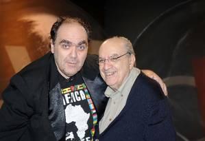 Antônio Abujamra com o filho André Abujamra em seu programa no canal Cultura Foto: Divulgação