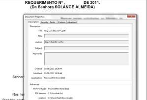 Registro eletrônico de documento Foto: Reprodução