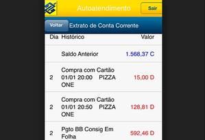 Extrato do Banco do brasil Foto: Reprodução