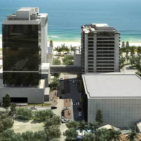O centro de convenções (em primeiro plano, à direita) ficará atrás do hotel Windsor Oceânico e à esquerda do Windsor Tower, que está sendo erguido nos fundos do Windsor Barra Foto: Ilustração / Divulgação
