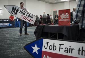 Feira de empregos nos EUA Foto: Matthew Busch / Bloomberg News