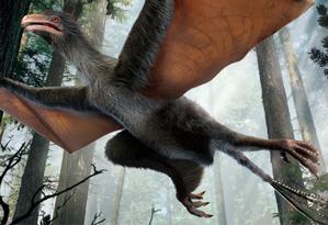 Ilustração mostra espécie de dinossauro descoberta por cientistas chineses Foto: Divulgação