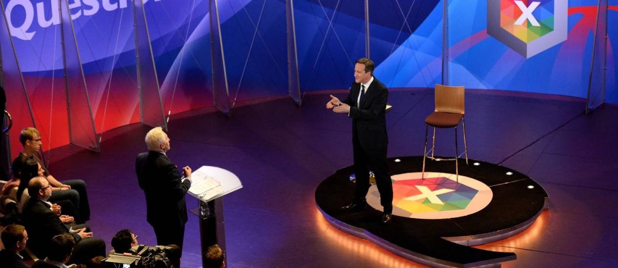 O primeiro-ministro britânico responde a perguntas em programa da BBC Foto: AFP/30-4-2015