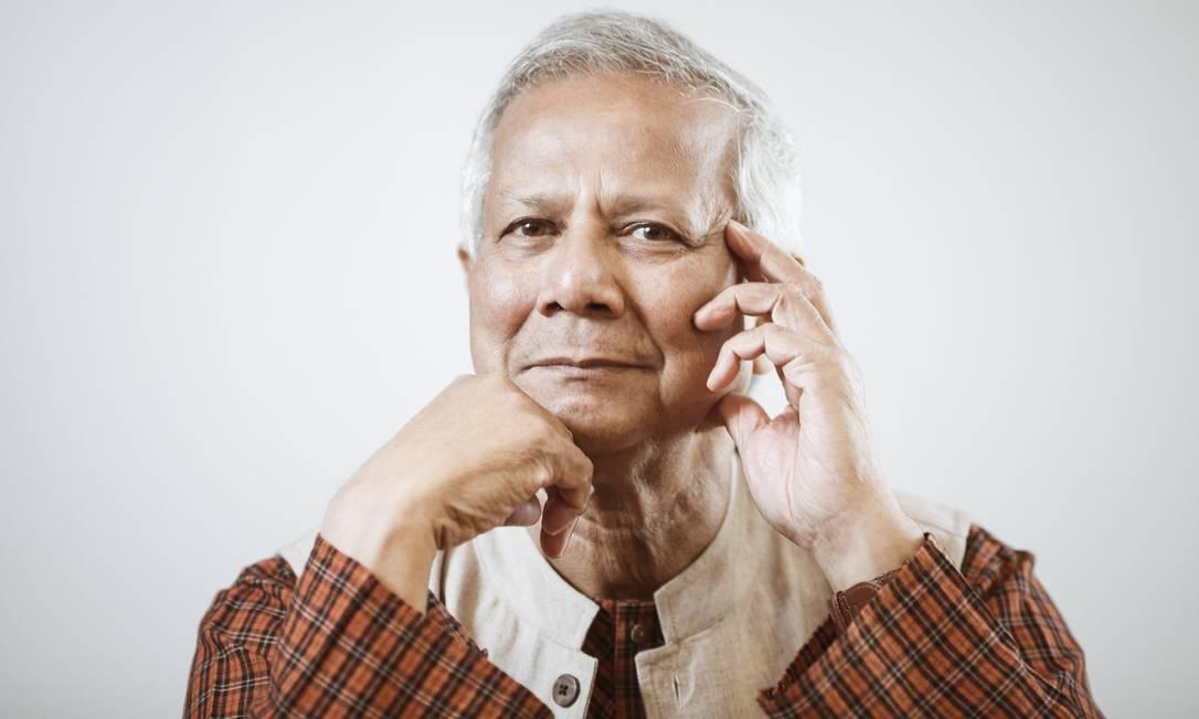 """Empreendedorismo. O economista Muhammad Yunus: """"Nós não somos buscadores de emprego, somos criadores"""" Foto: Agência O Globo / Leo Martins"""