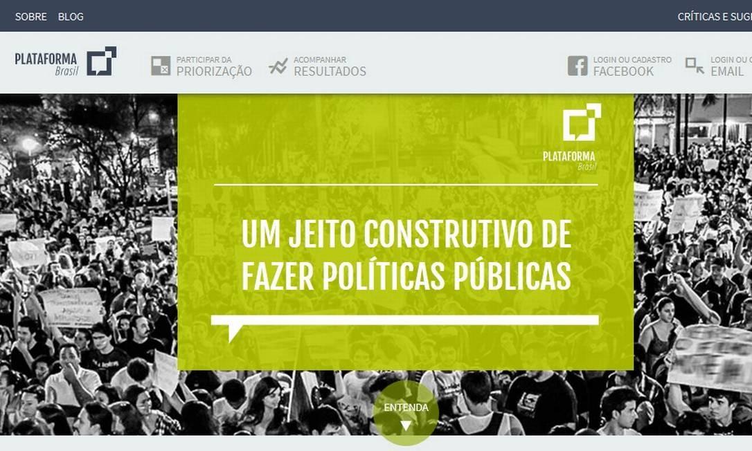 Plataforma Brasil: iniciativa quer ajudar a criar políticas públicas com participação da sociedade Foto: / Reprodução