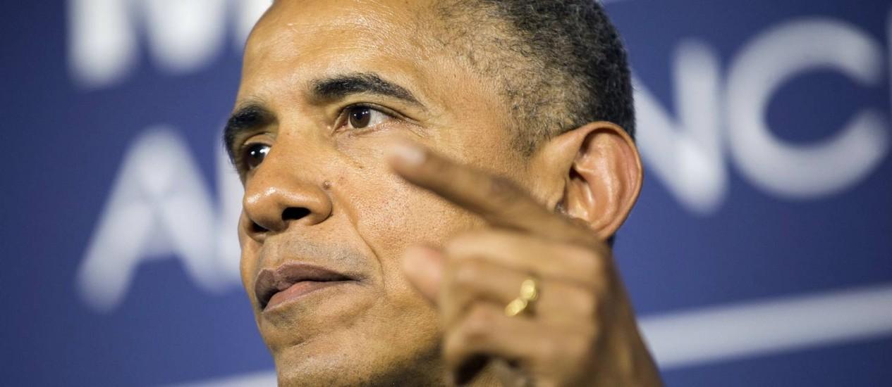 """Barack Obama durante anúncio da expansão do preograma """"My Brother's Keeper"""" na Lehamn College, em Nova York Foto: Pablo Martinez Monsivais / AP"""