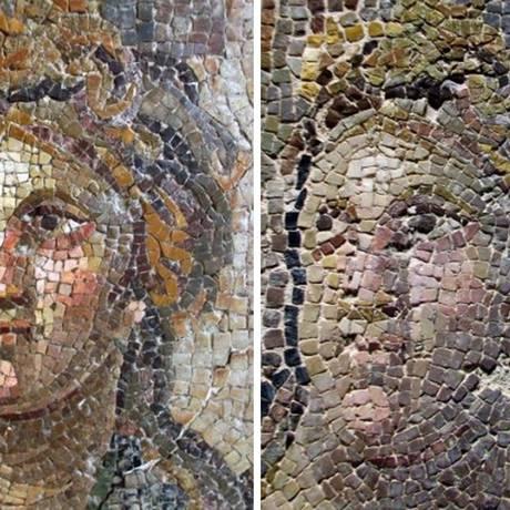 Um dos mosaicos danificados durante a restauração Foto: Reprodução