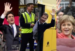 Miliband, Cameron, Clegg e Sturgeon fizeram esforços para conquistar eleitores Foto: Montagem / AFP; AFP; AP; AFP
