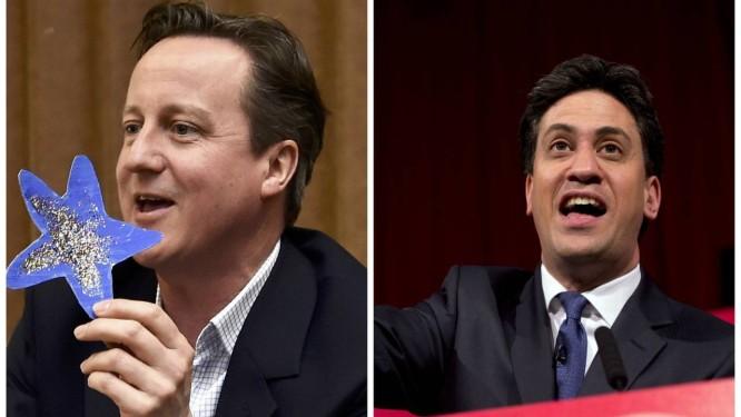 David Cameron e Ed Miliband. Na véspera das eleições britânicas, Conservadores e Trabalhistas aparecem virtualmente empatados nas últimas pesquisas Foto: Toby Melville/Oli Scarff / AP/AFP