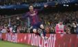 Messi comemora o segundo gol do Barcelona sobre o Bayern de Munique