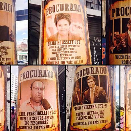 Folhetos contra petistas foram afixados em postes da capital paulista Foto: Marcos Alves/O GLOBO
