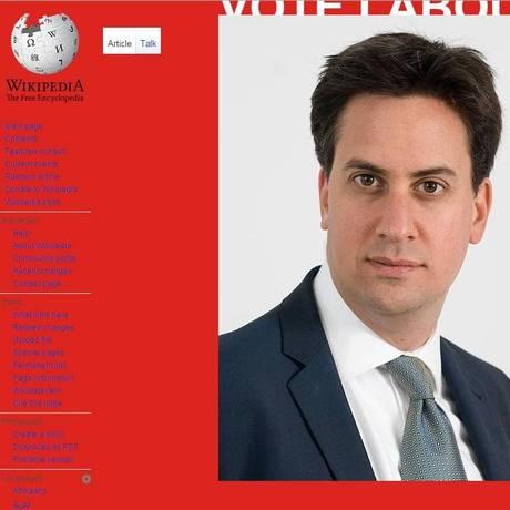 Imagem do líder trabalhista Ed Miliband é colocada na página de outros candidatos britânicos Foto: Reprodução