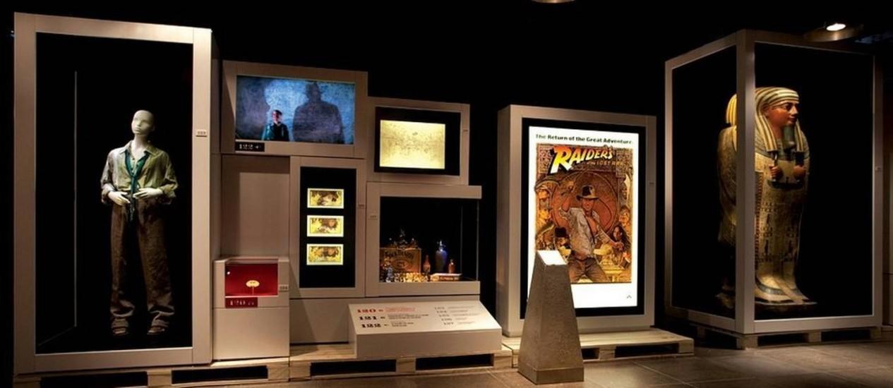 Parte da exposição em homenagem a Indiana Jones no Museu da National Geographic, em Washington DC Foto: Divulgação