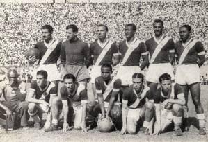Expresso nos trilhos: equipe do Vasco campeã carioca de 1945 Foto: S/ credito / Arquivo/O Globo