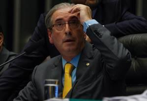 O presidente da Câmara, Eduardo Cunha (PMDB-RJ) Foto: André Coelho / Arquivo O Globo - 6/5/2015