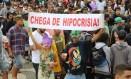 Marcha da Maconha: Manifestação, que reuniu dezenas de pessoas em 2014, será hoje, às 14h20m, em Ipanema Foto: Agência O Globo/ Carlos Ivan