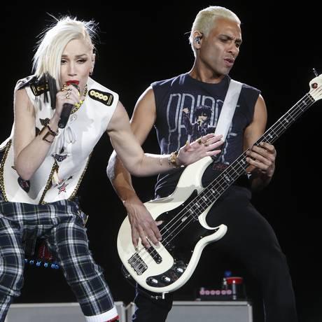 Gwen Stefani e Tony Kanal, da banda No Doubt, se apresentam no Rock in Rio USA Foto: John Davisson / John Davisson/Invision/AP