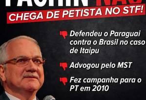 Imagem do movimento #FachinNão divulgada nas redes sociais Foto: Reprodução/Twitter