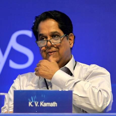 K.V. Kamath, futuro presidente do banco dos Brics Foto: MANJUNATH KIRAN / AFP