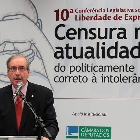 O presidente da Câmara, deputado Eduardo Cunha (PMDB-RJ) durante a 10ª Conferência Legislativa sobre Liberdade de Expressão. Foto: Jorge William / Agência O Globo