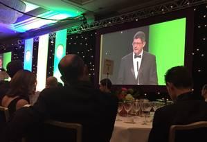 Ministro da Fazenda Joaquim Levy durante jantar com investidores na capital britânica Foto: Igor Catran / Foto do leitor