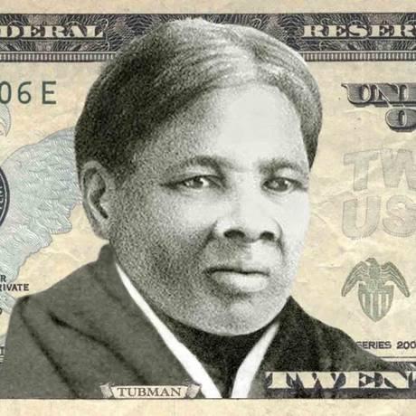 Simulação de como seria uma nota de US$ 20 com o rosto de Harriet Tubman estampado Foto: Reprodução/Women on 20s