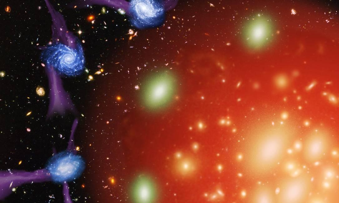 """Ilustração mostra um dos processos que podem levar ao """"estrangulamento"""" e morte de galáxias, a entrada em halos de material quente em aglomerados que as impede de formarem novas estrelas Foto: Divulgação/Re-active"""