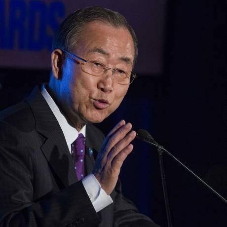 Secretário-geral da ONU, Ban Ki-moon. Grupo de diplomatas pede fim da imunidade a membros das forças de paz envolvidos em crimes sexuais Foto: LUCAS JACKSON / REUTERS