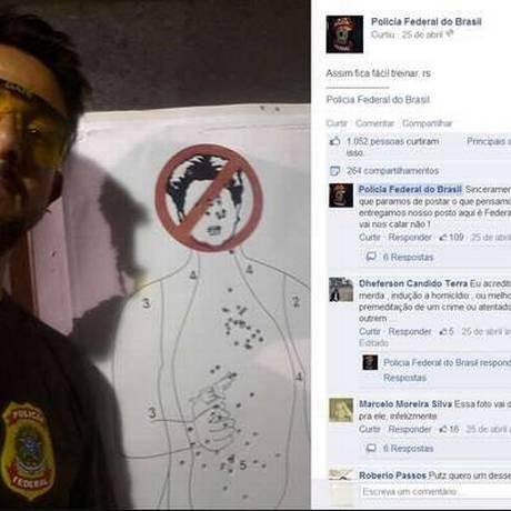 Danilo Mascarenhas Balas postou imagem da caricatura da presidente cravejada de balas Foto: Reprodução Facebook