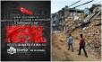 Convite da Igreja Universal convoca fiéis para palestra sobre terremotos no Nepal. Ao lado, nepaleses passam por prédios destruídos pelos tremores de abril e maio