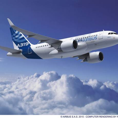 O avião que atingiu uma ave era um modelo Airbus A319 e carregava 132 passageiros Foto: Divulgação / Airbus