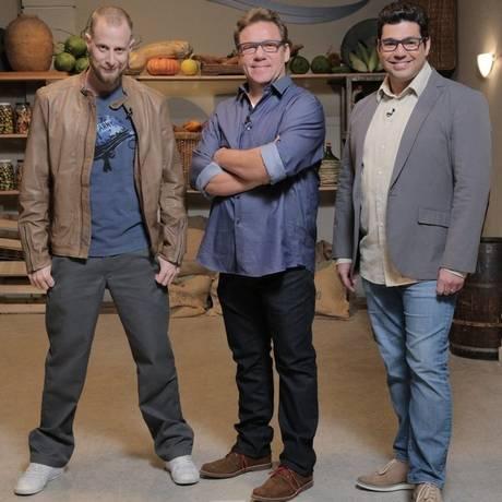 """André Mifano, Claude Troisgros e Felipe Bronze, do """"The taste Brasil"""" Foto: ADALBERTO DE MELO / Fotos de divulgação"""
