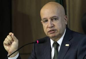 Ministro da Controladoria Geral da União (CGU), Valdir Simão, fala sobre a Escala Brasil Transparente Foto: Givaldo Barbosa / Agência O Globo