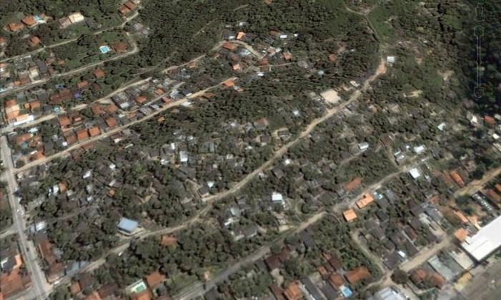 Na foto a favela do Caniçal, no Cafubá em 2005 Foto: Google Earth / Reprodução