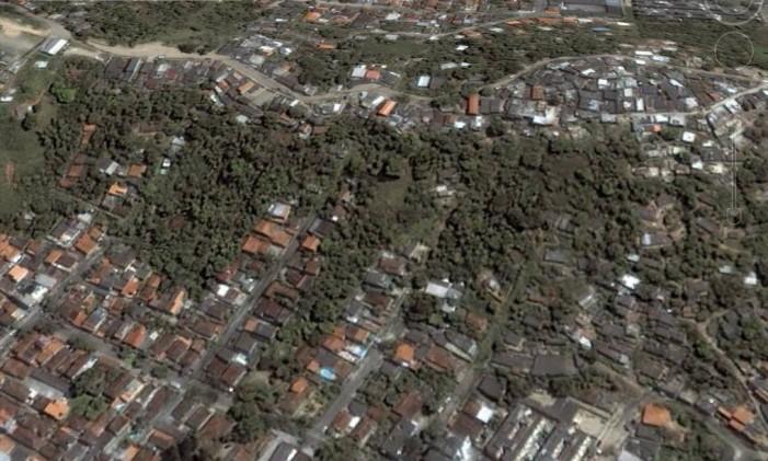 Na foto a favela do Beltrão, em Santa Rosa, em 2005 Foto: Google Earth / Reprodução