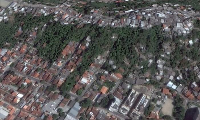 Na foto a favela do Beltrão, em Santa Rosa, em 2015. Foto: Google Earth / Reprodução