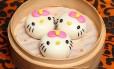Dim sum, os bolinhos típicos da culinária chinesa, em formato de Hello Kitty no Hello Kitty Chinese Cuisine, em Hong Kong