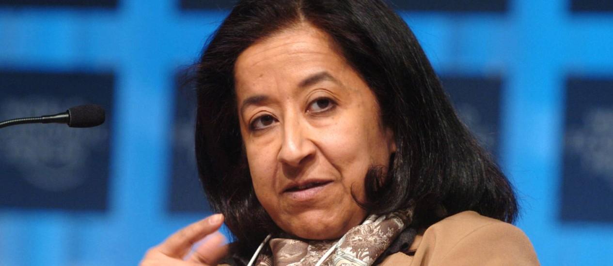 Lubna Olayan participa de debate no Fórum Econômico Mundial em Davos, na Suíça Foto: Daniel Acker / Bloomberg News