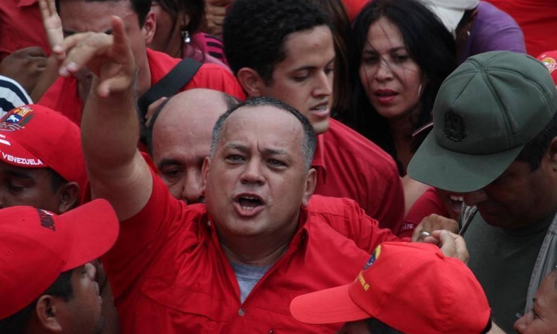 Diosdado Cabello em ato pró-Chávez em 2012. Presidente da Assembleia Nacional é apontado por investigação como líder de uma rede de tráfico de cocaína e lavagem de dinheiro Foto: CESAR DE MOYA / CESAR DE MOYA/EL NACIONAL