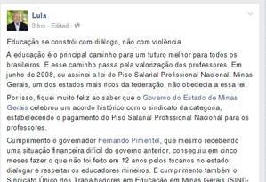 Reprodução do Facebook de Lula Foto: Reprodução