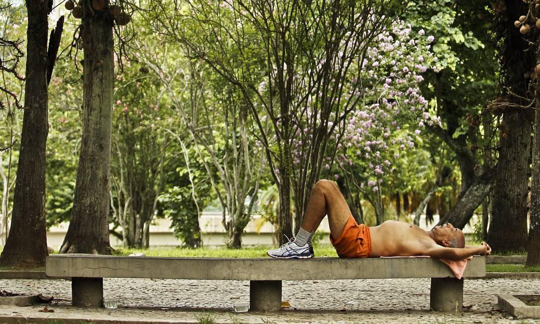 ZS Rio de janeiro (rj) - 01/04/2015 - PARQUE DO FLAMENGO - Fernando Nascimento um dos reponsaveis que está a frente de projetos para o parque que inclui até mesmo um site, são 16 associações e empresas que conversam quinzenalmente para sugerir e preparar projetos para o espaço. Foto: Guilherme Leporace Foto: Guilherme Leporace / Agência O Globo