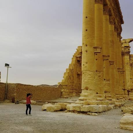 Colunas do Templo de Bel. Palmira ganhou o status de