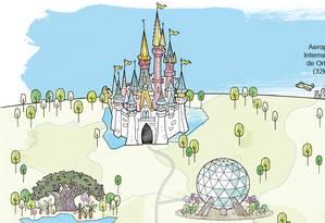Mapa dos parques da Disney Foto: Editoria de Arte